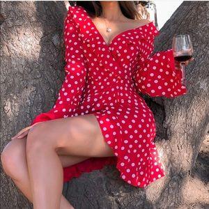 Red polka dot mini dress sundress long sleeve